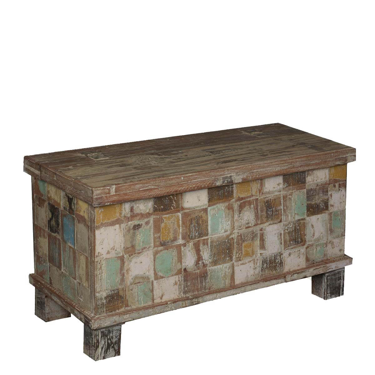 Earth Tone Checkered Reclaimed Wood Standing Coffee Table Chest