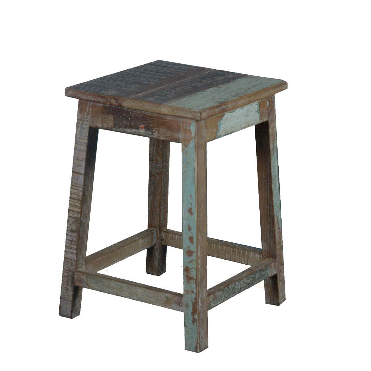 Square Rustic Reclaimed Wood 18 Pedestal End Table Stool