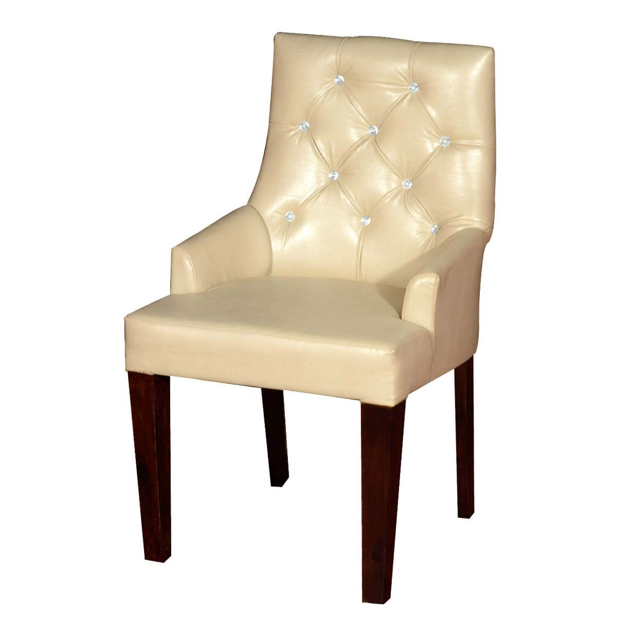 Contemporary White Leather Upholstered Solid Wood Chair