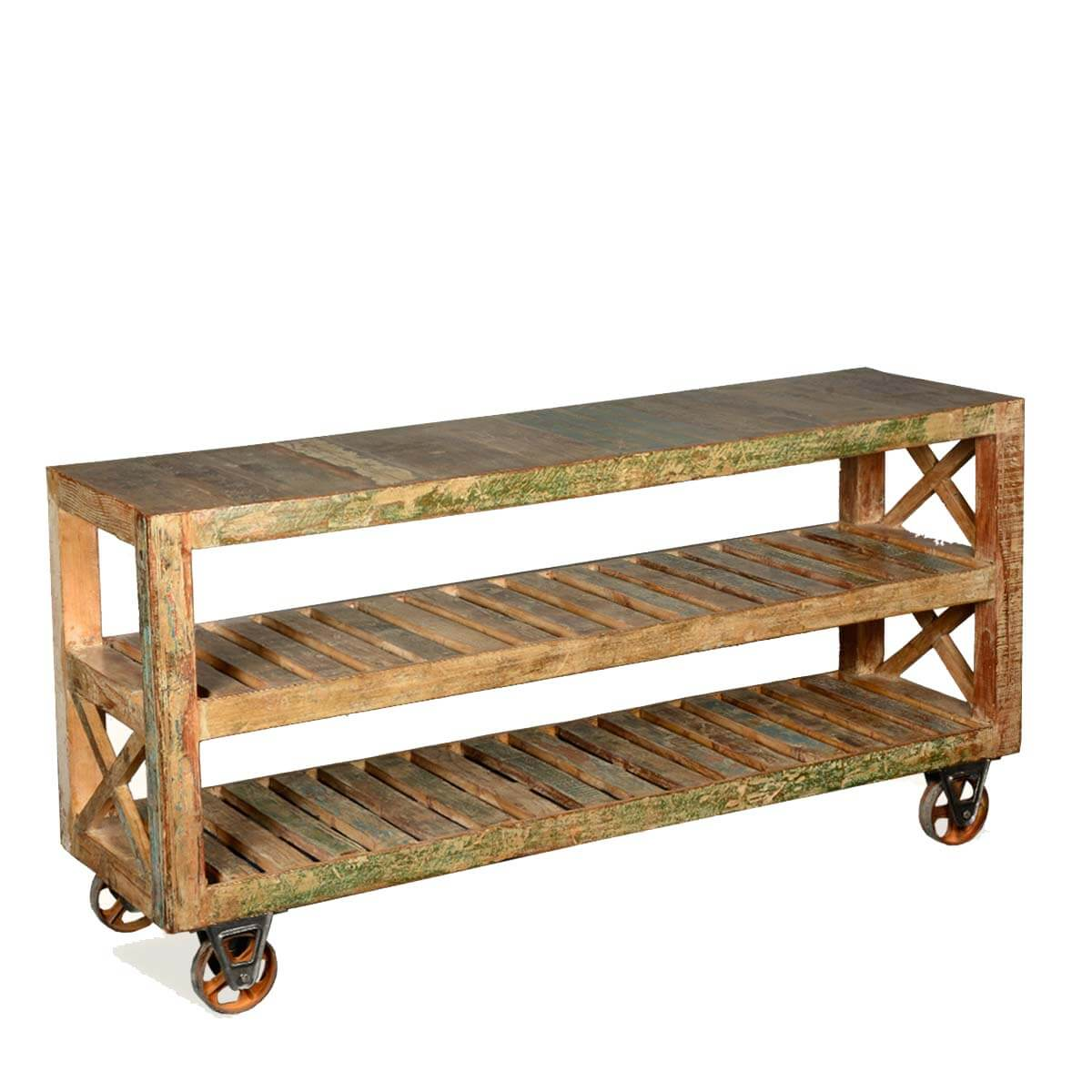 Industrial Reclaimed Wood & Iron 3-Tier Rolling Shelves