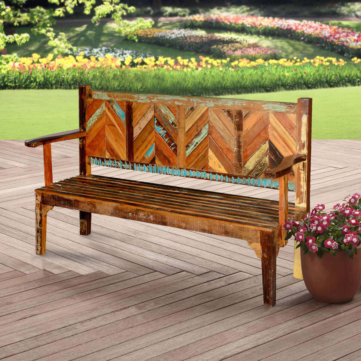 Hanover Rustic Reclaimed Wood Parquet High Back Porch Wooden Bench