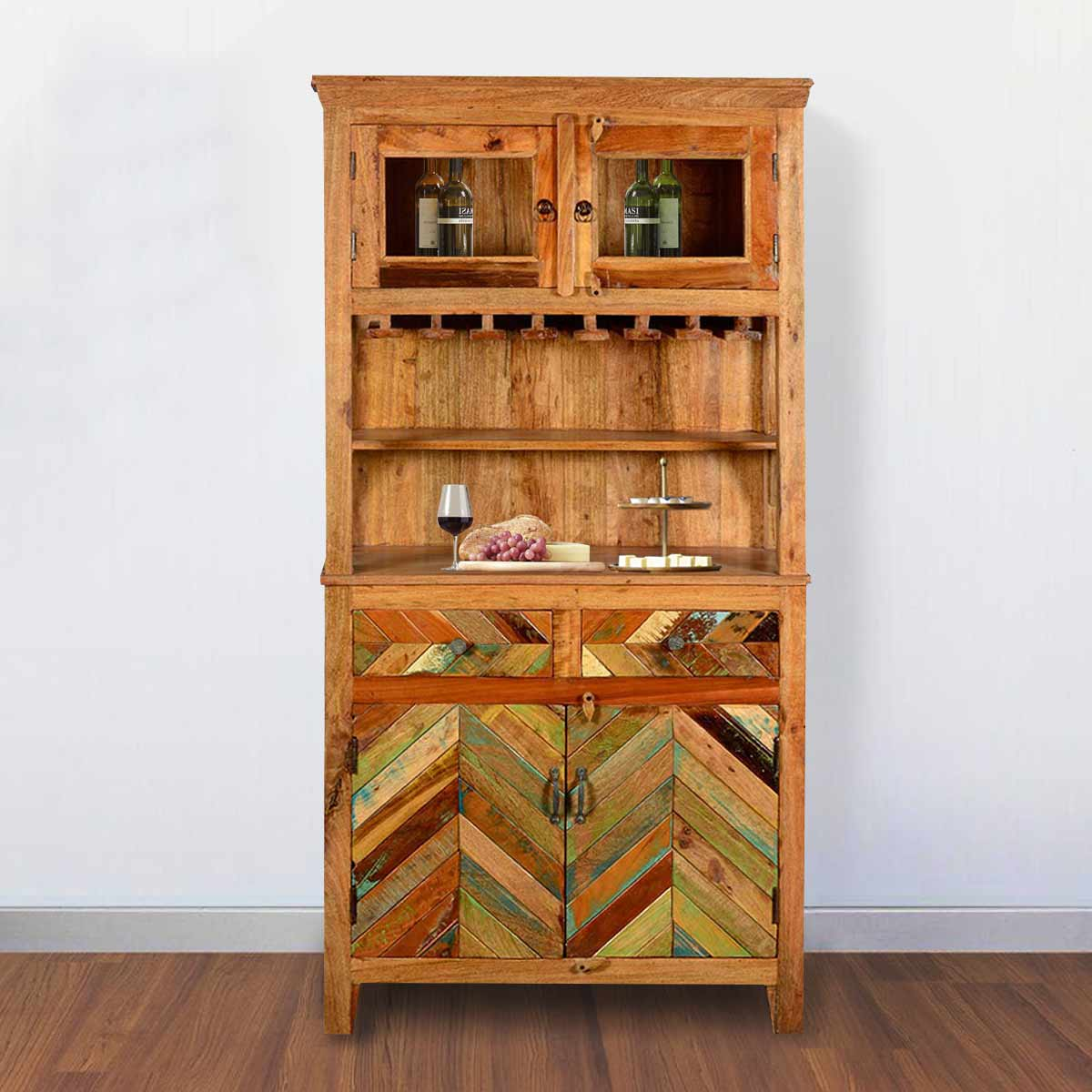 Genial Solid Reclaimed Wood 72 Tall Wine Bar Hutch With Glass Stem Rack