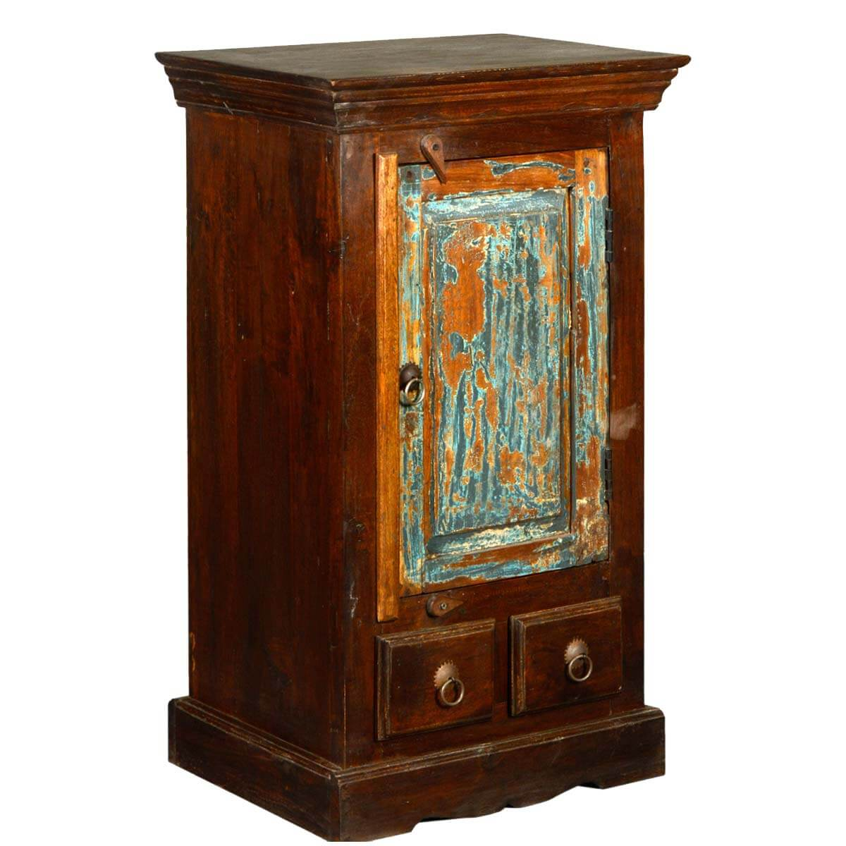Colonial Handcrafted Rustic Old Wood 2 Drawer Nightstand Cabinet