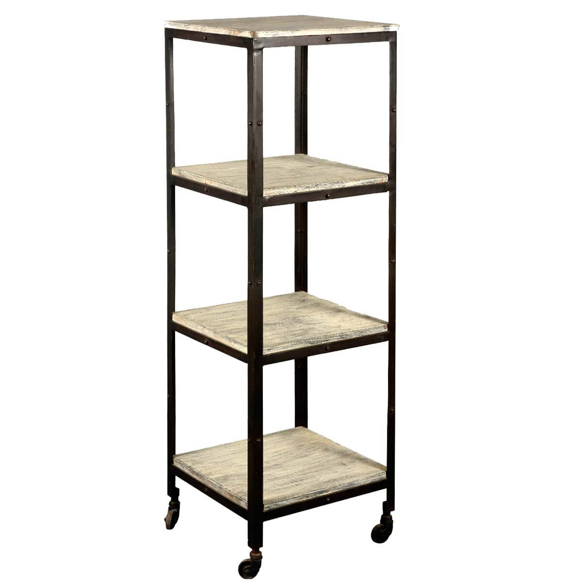 Industrial Old Wood & Iron 16 Square 4-Tier Rolling Tower Cart