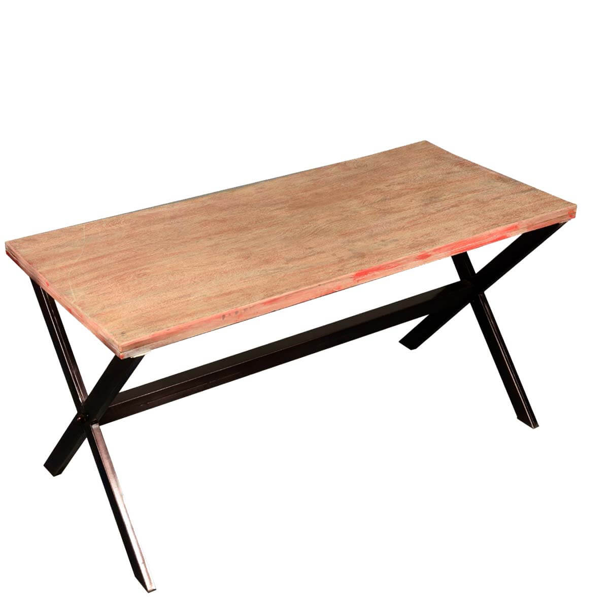 Picnic Style Reclaimed Wood & Iron Trestle Coffee Table