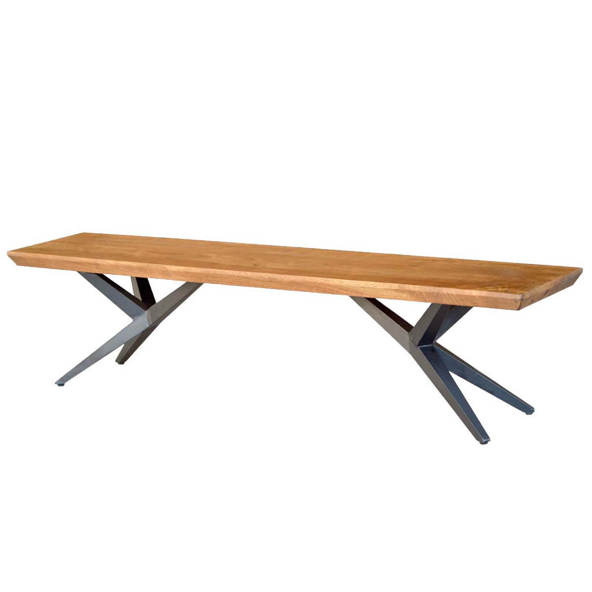 Lorna Contemporary Acacia Wood Industrial Airloft Bench
