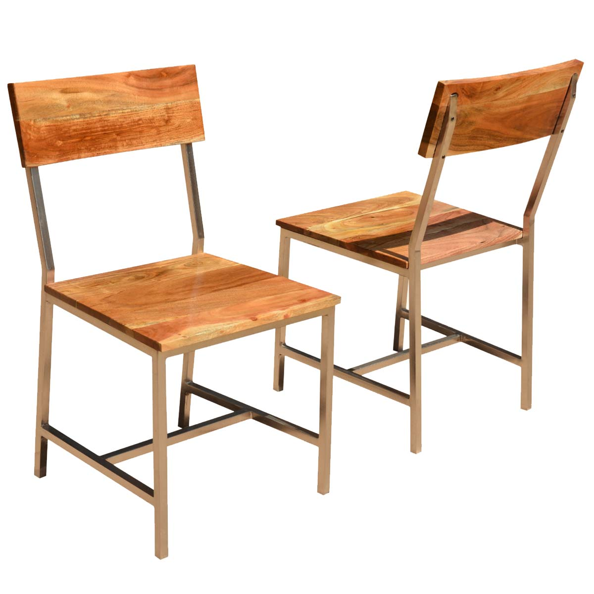 Admirable Solid Wood Iron Rustic Dining Chair Set Of 2 Ncnpc Chair Design For Home Ncnpcorg