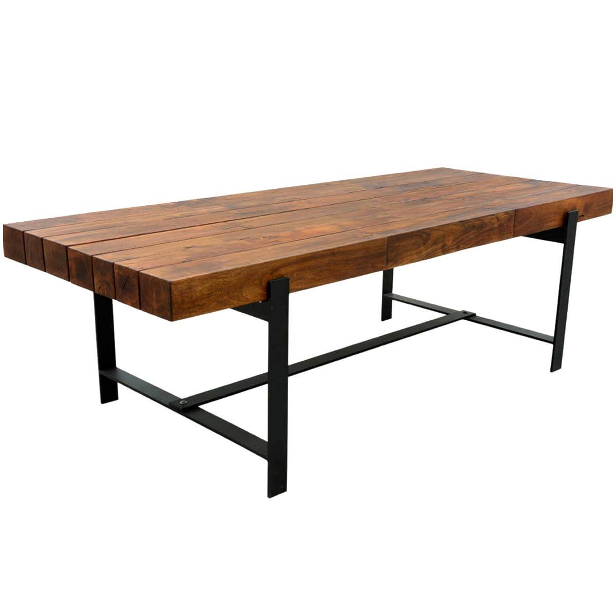 Industrial Iron & Acacia Wood 94 Large Rustic Dining Table
