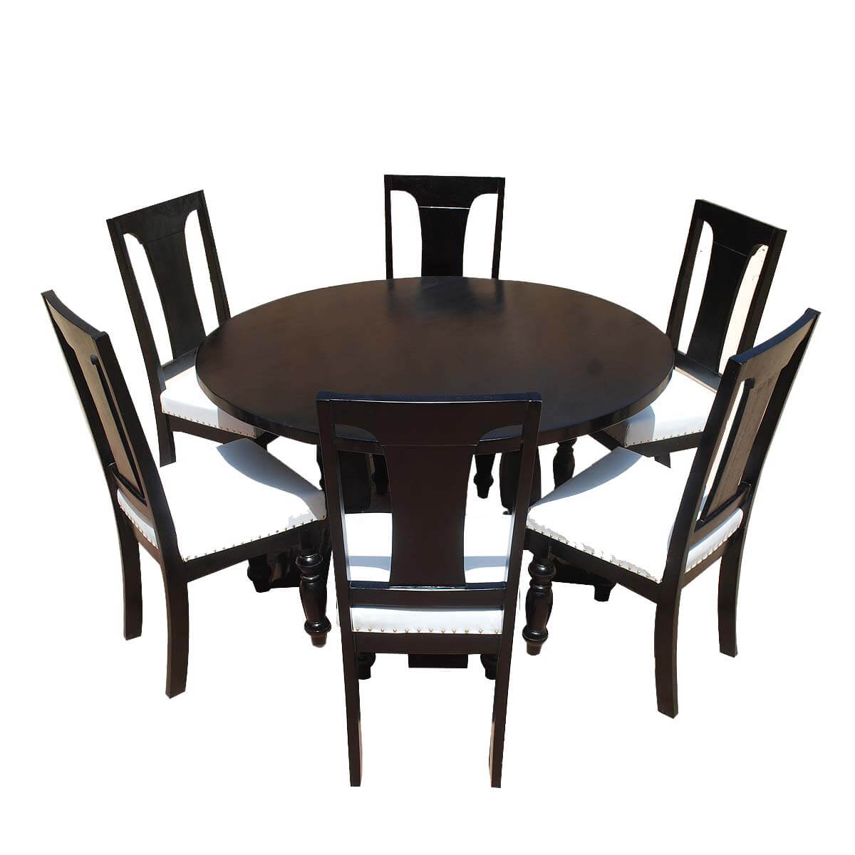 California Solid Wood & Leather Round Dining Room Set
