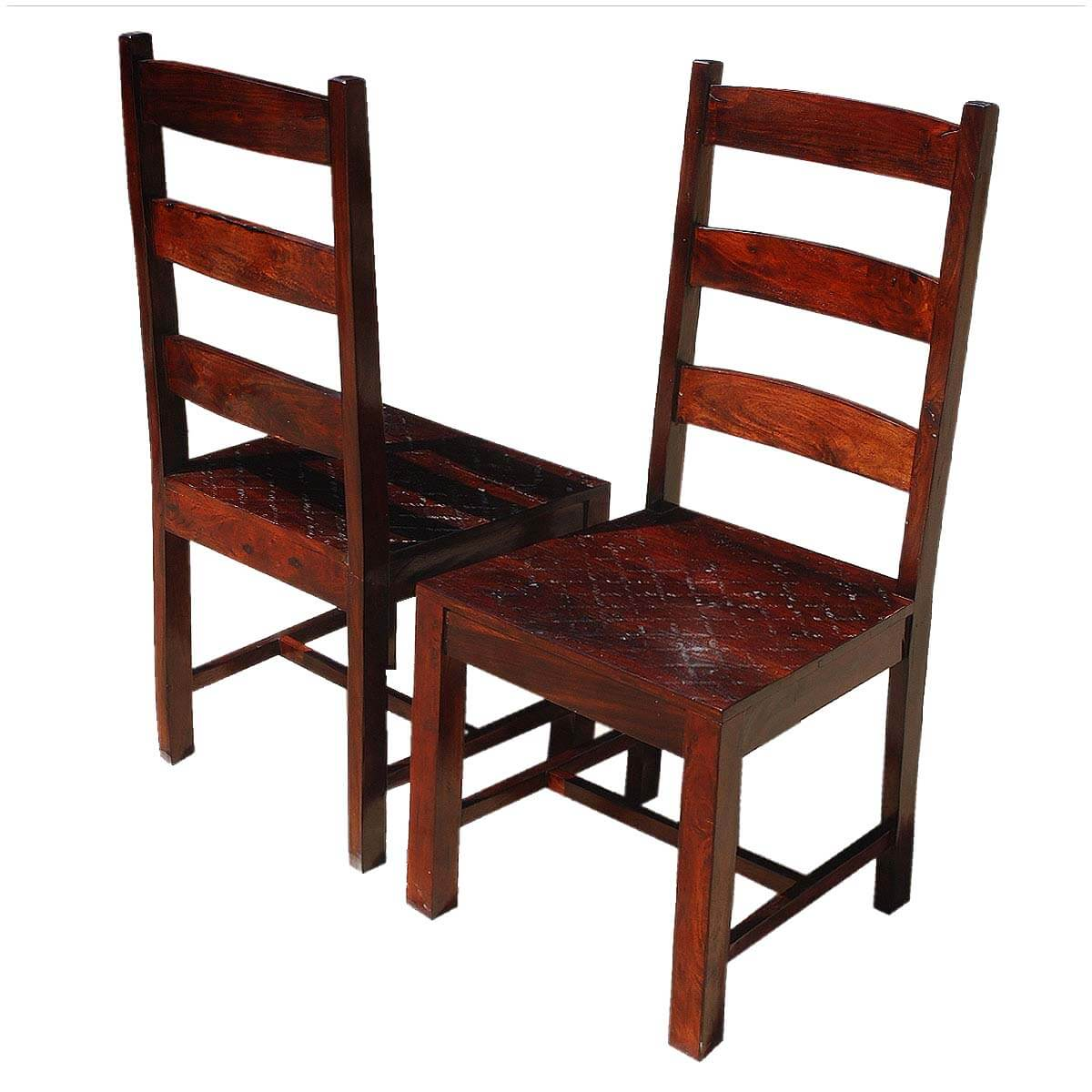 Oklahoma Farmhouse Solid Wood Ladder Back Chairs Set of 2