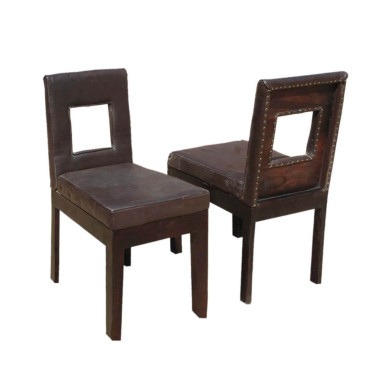 Rebel Solid Wood & Leather Window Back Chair Set of 2