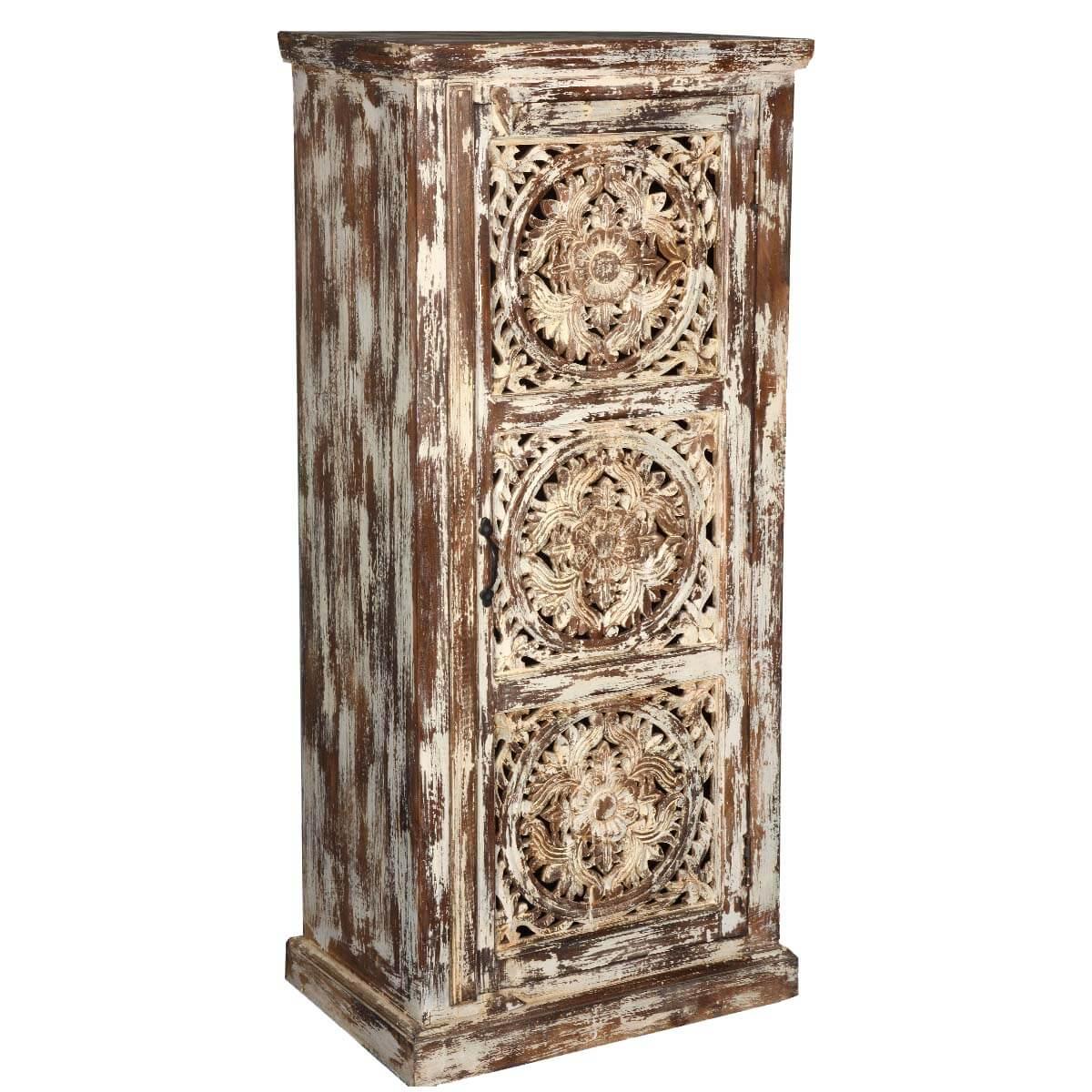 Winter Woods Mango Wood Hand Carved 3 Shelf Cabinet