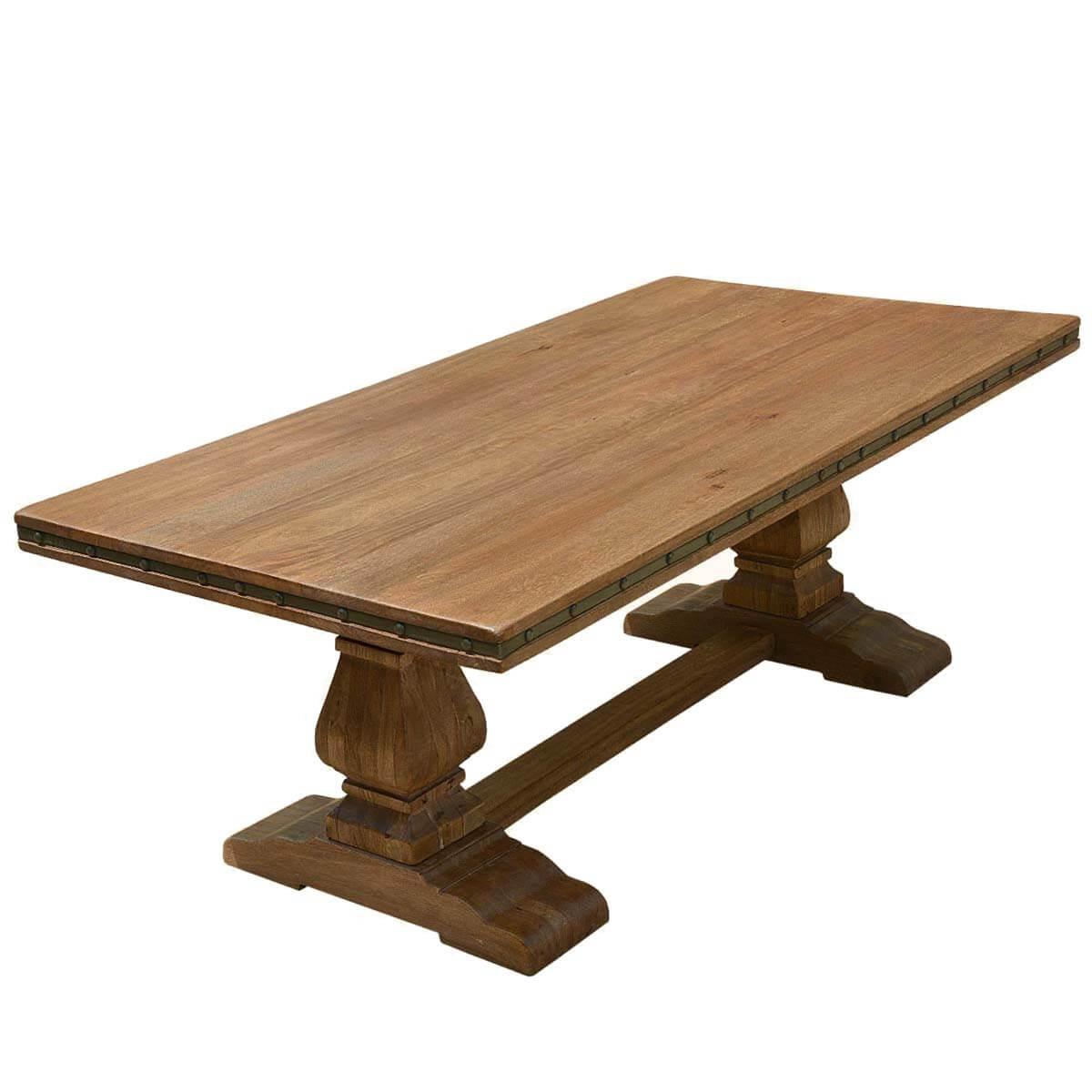 Rustic Solid Wood Trestle Pedestal Base Harvest Dining Table