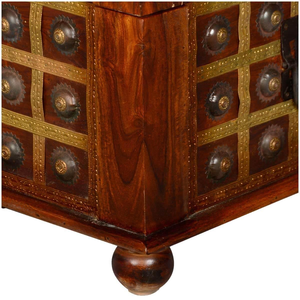 capella wood  brass everett upholstered bedroom storage trunk