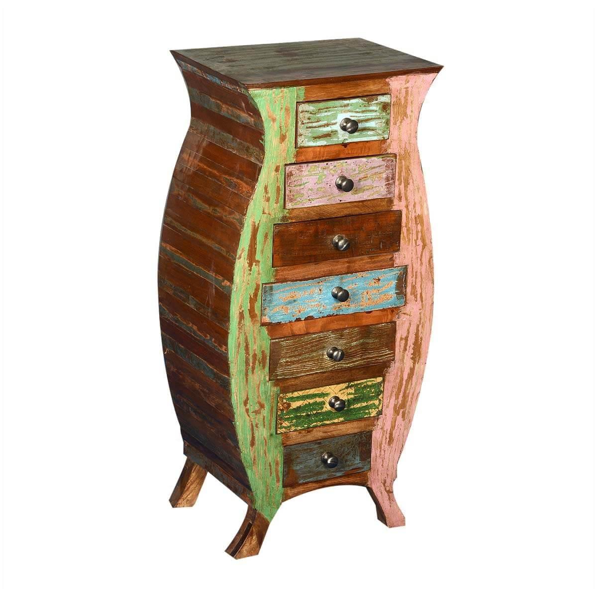 Reclaimed Wood Rustic Novelty Bombe Chest 7 Drawer Dresser