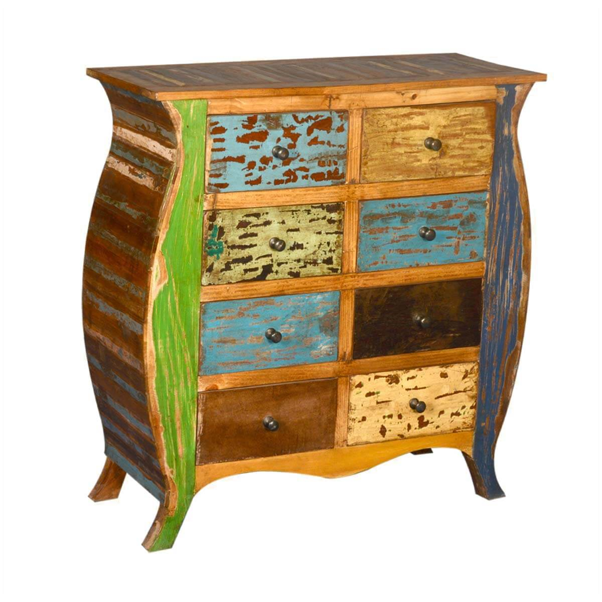 Orlando Reclaimed Wood 8 Drawer Bombe Double Dresser