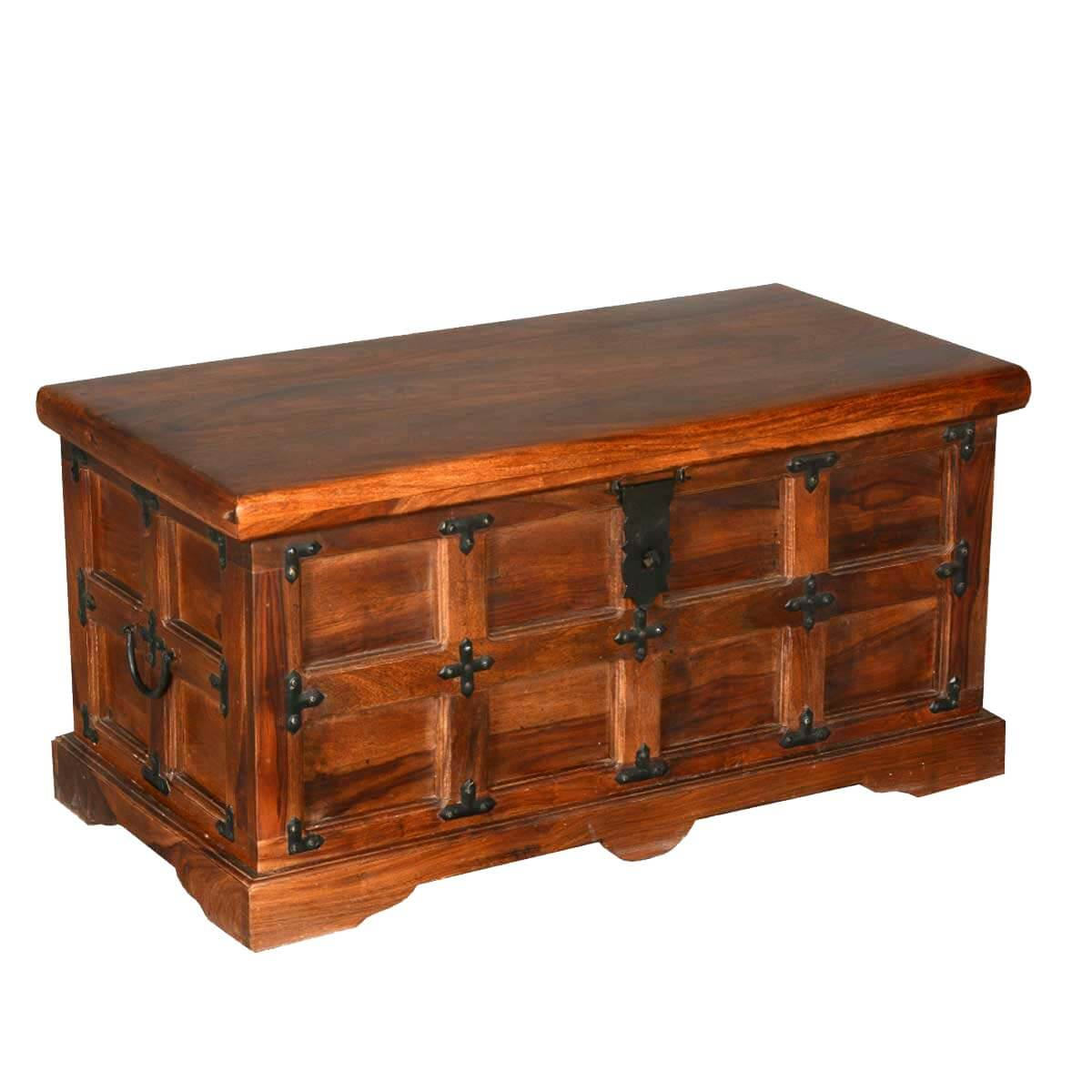 Beaufort Solid Rosewood with Metal Accents Coffee Table Storage Chest