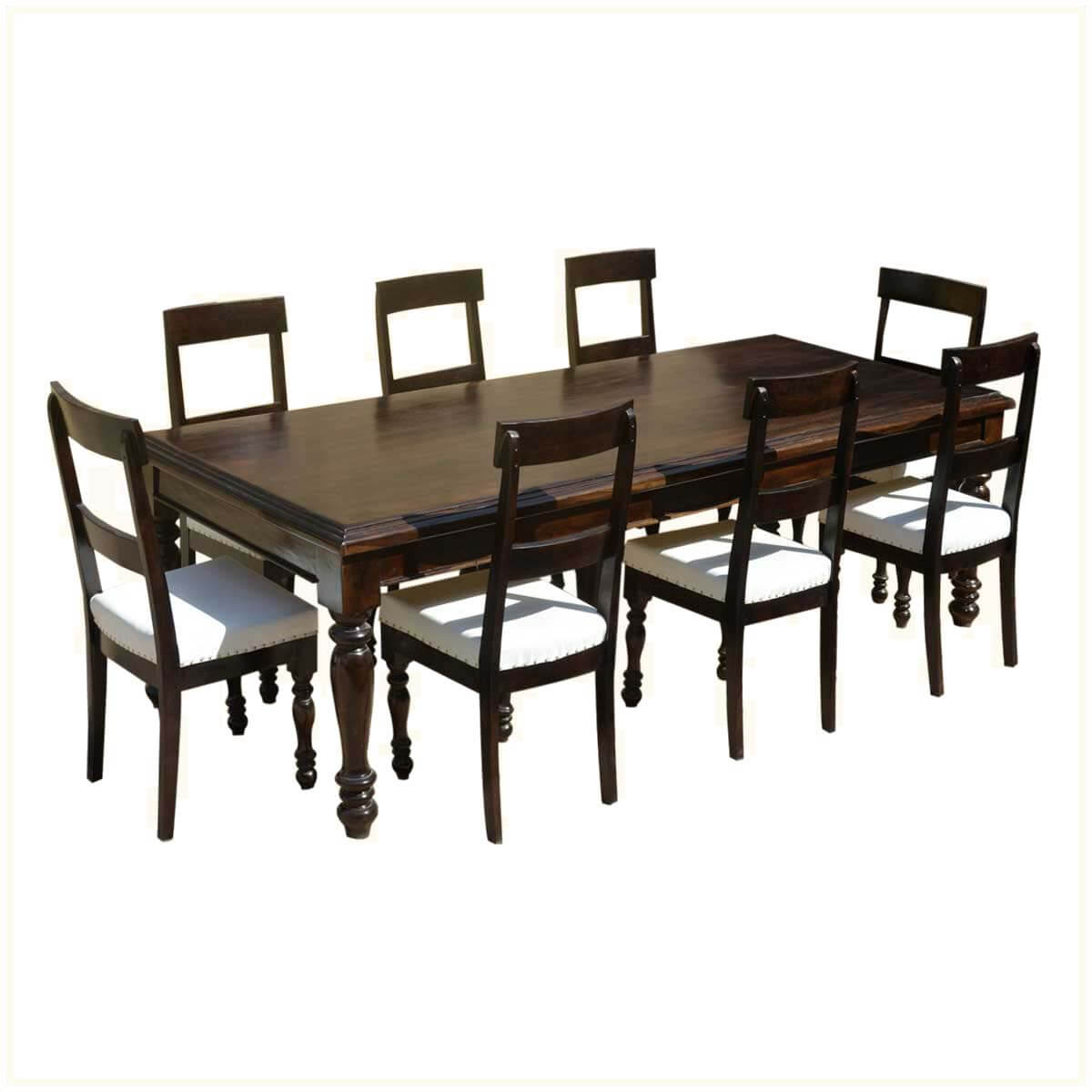 American Acacia Wood Dining Table Amp Leather Upholstered Chairs