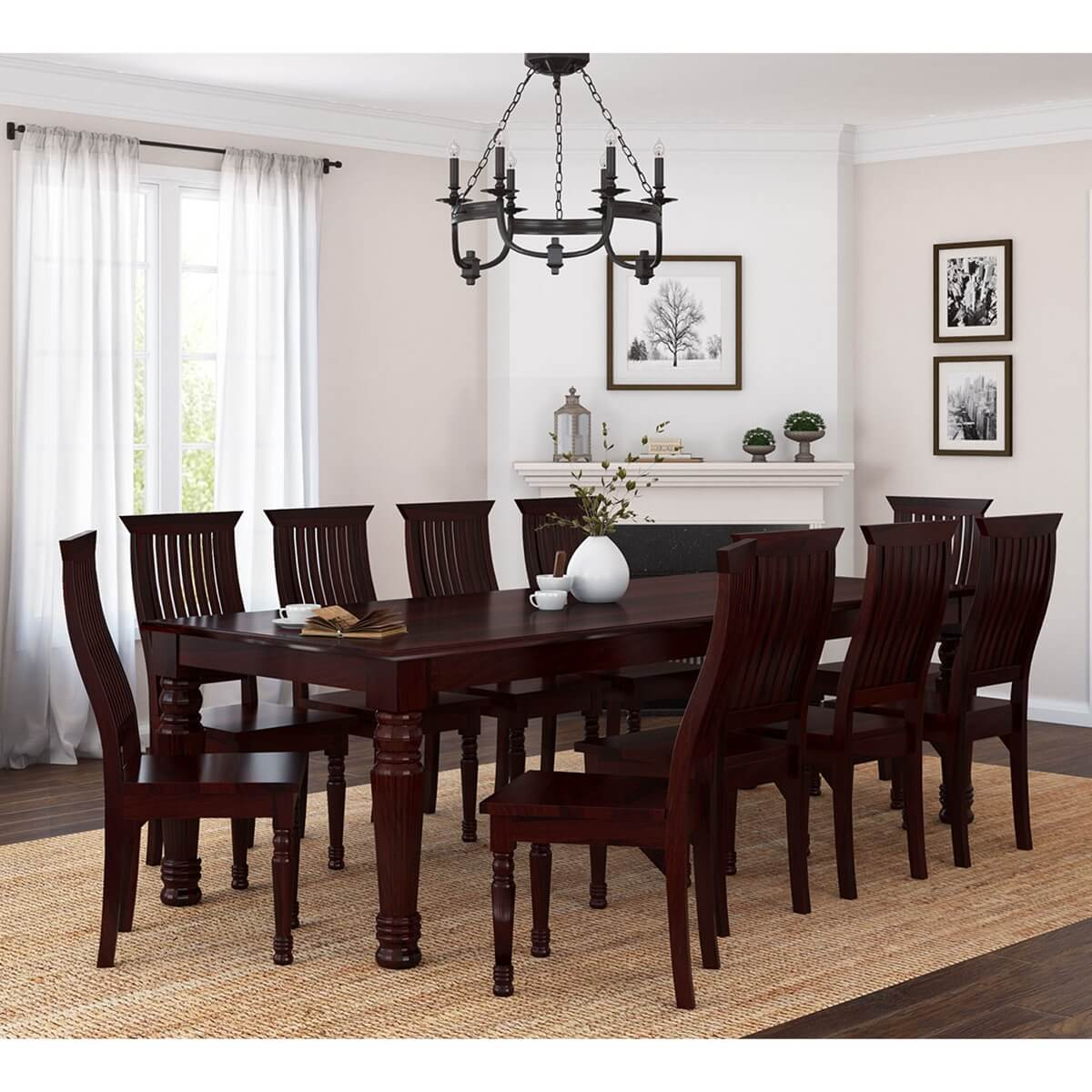 Cochrane Dining Room Furniture: Colonial American Large Rustic Wood Dining Table And 10