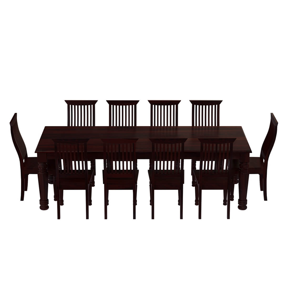 Dining Table Set For 10: Colonial American Large Rustic Wood Dining Table And 10