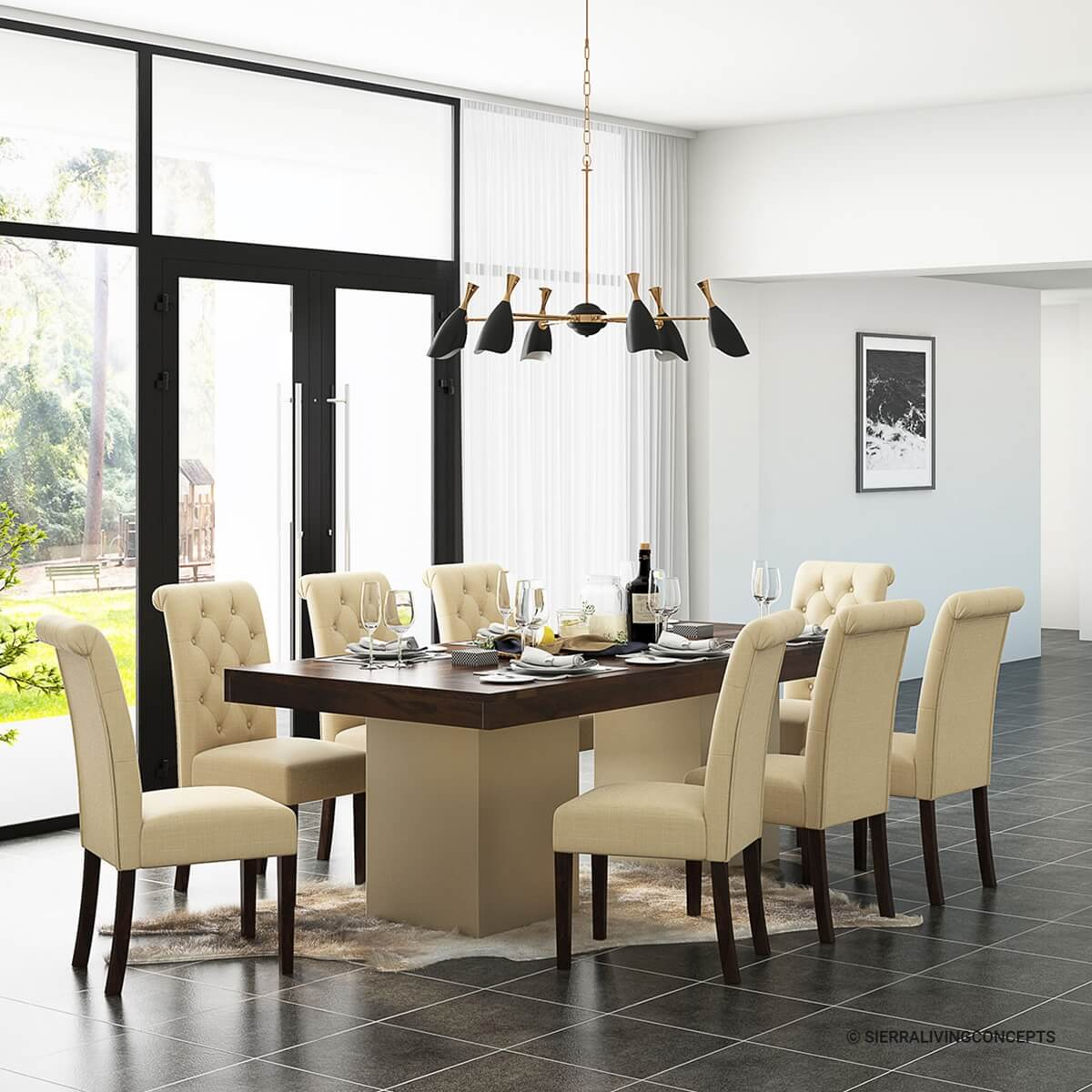 Solid Wood Large Rustic Dining Table with Leather Parson Chairs