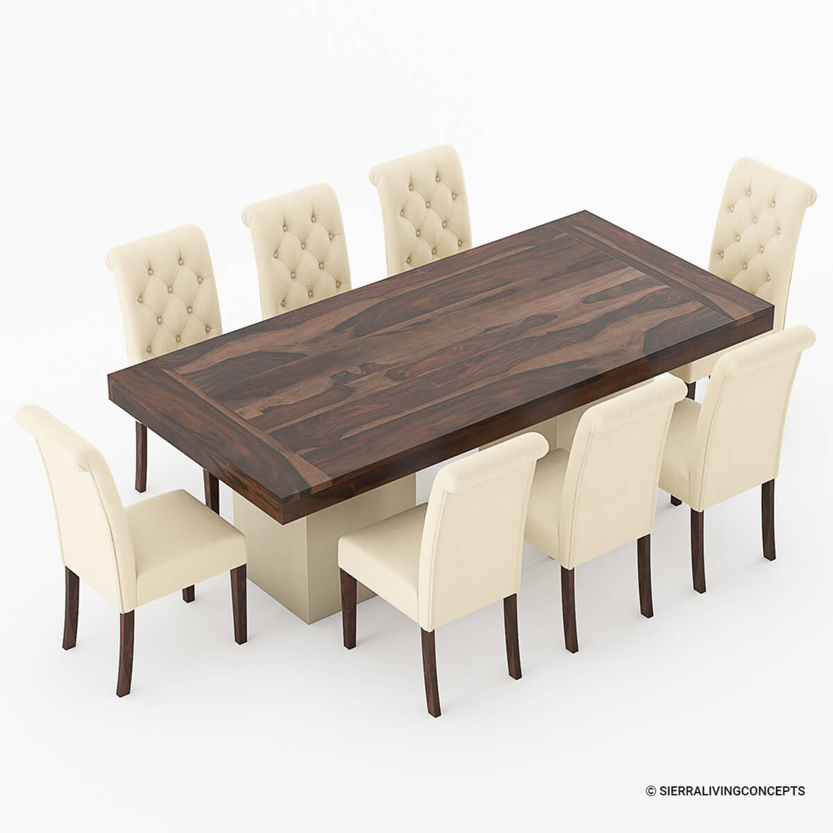 Nottingham Solid Wood Large Rustic Dining Room Table Chair Set: Solid Wood Large Rustic Dining Table With Leather Parson