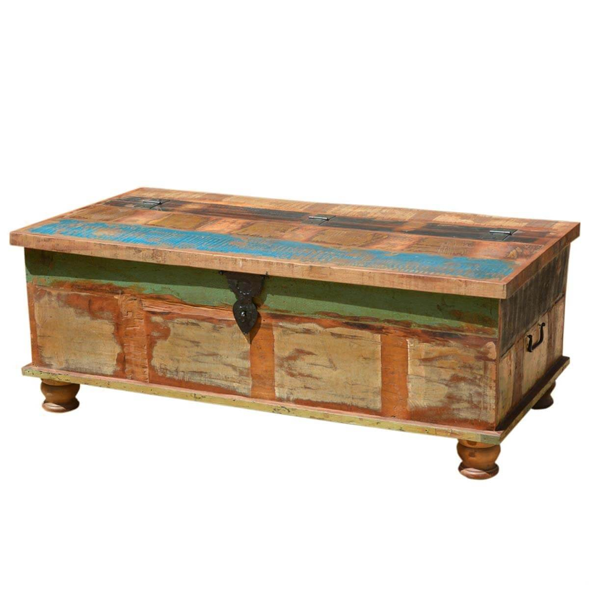 - Grinnell Rustic Reclaimed Wood Coffee Table Storage Trunk