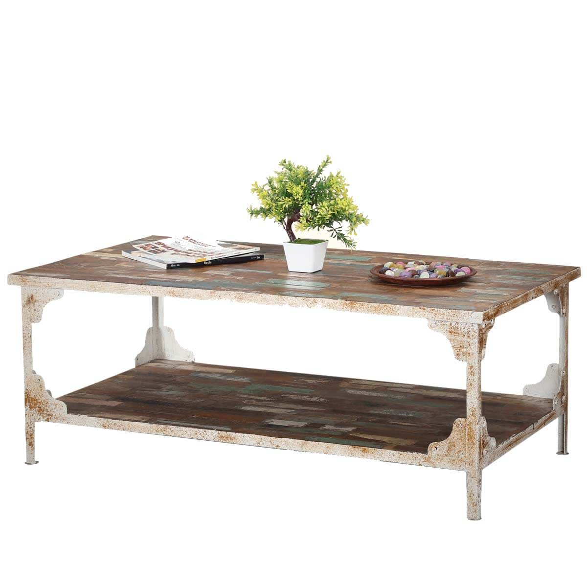 Strange Industrial Reclaimed Wood Iron 2 Tier Coffee Table Ocoug Best Dining Table And Chair Ideas Images Ocougorg