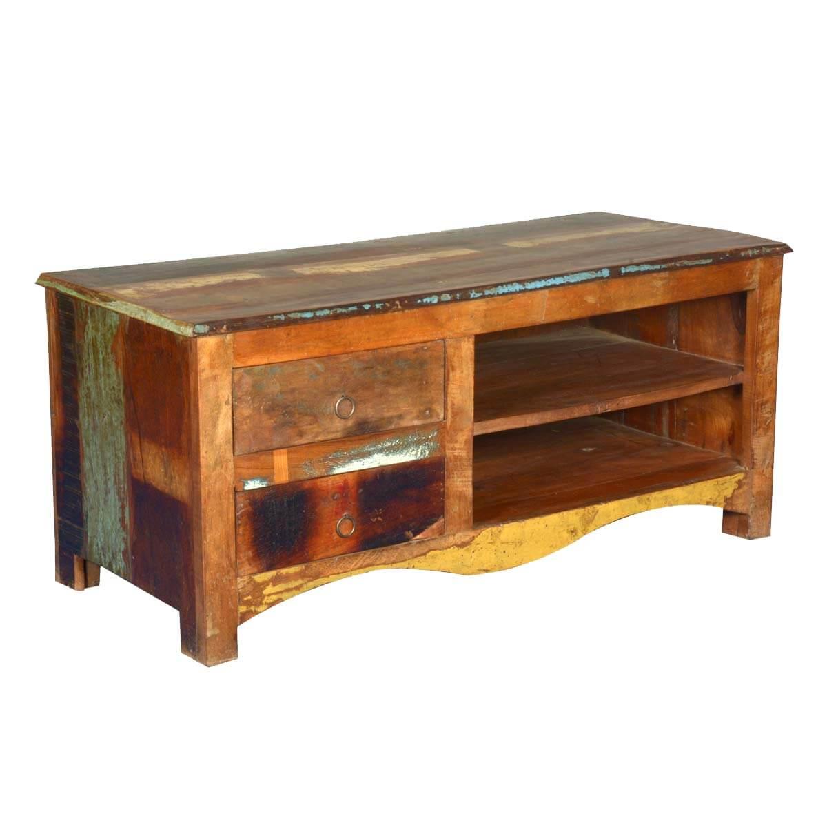 Kensington Retro Reclaimed Wood Open Shelf 2 Drawer TV Media Stand