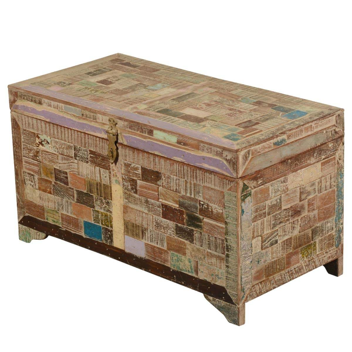 Tyndall Reclaimed Wood Standing Coffee Table Trunk Chest