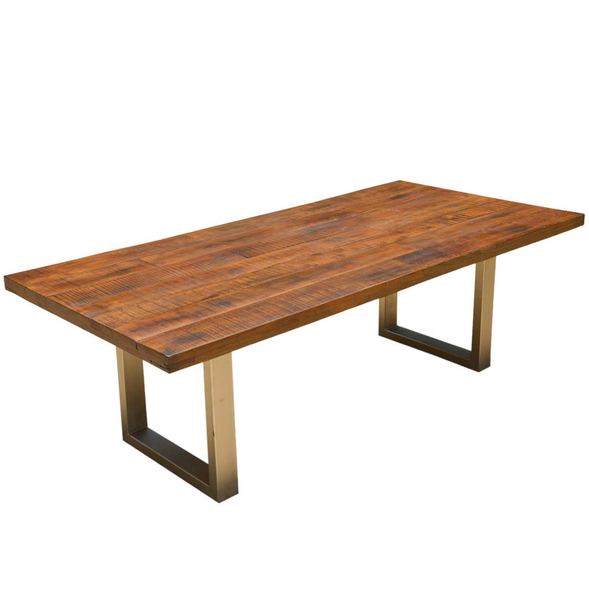 Rustic solid acacia wood dining table hover to zoom
