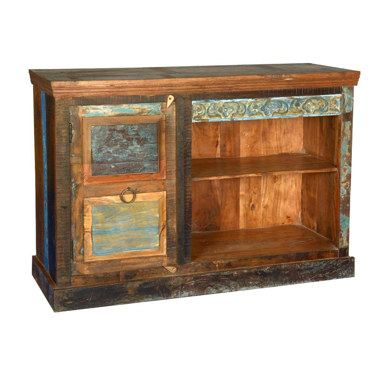 Drakensberg Distressed Old Reclaimed Wood Media Console TV Stand