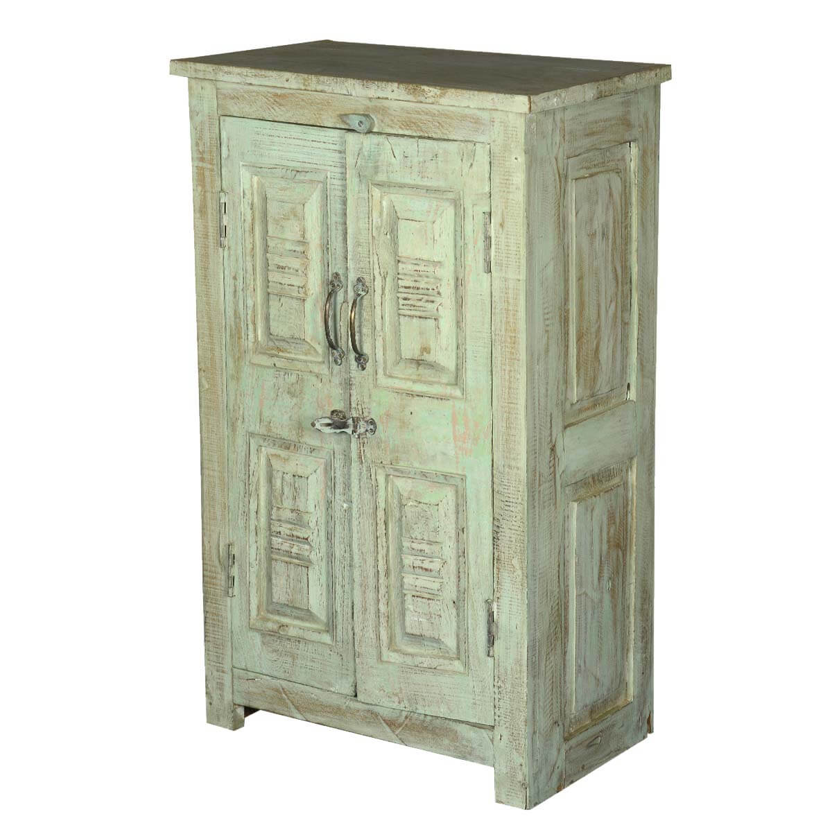 Reba Reclaimed Wood Hand Carved Panel 2 Door Storage Cabinet