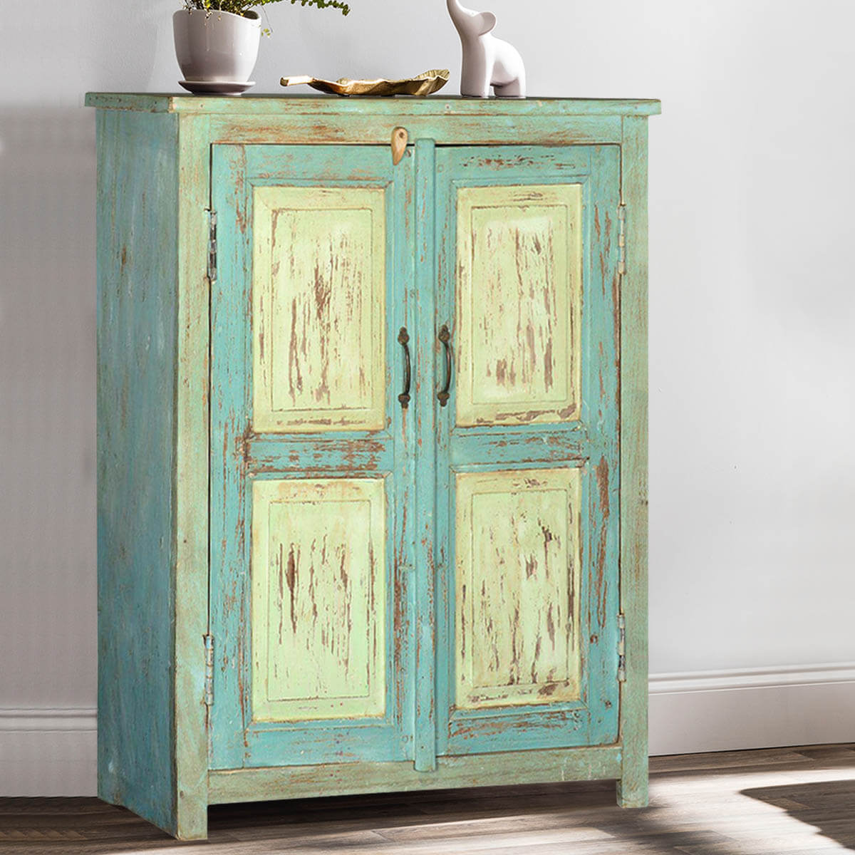 Deersville Blue & Green Reclaimed Wood Storage Cabinet