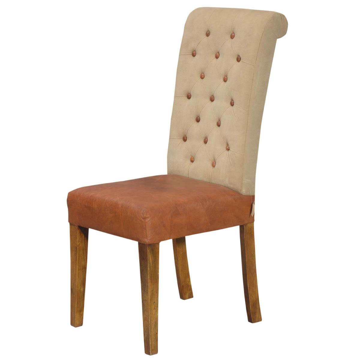 Ultra Stylish Leather and Fabric Tufted Parson Chair