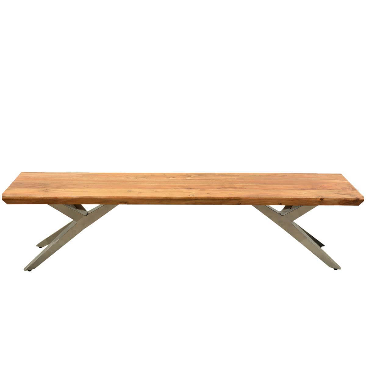 Burgess Contemporary Acacia Wood Industrial Airloft Bench