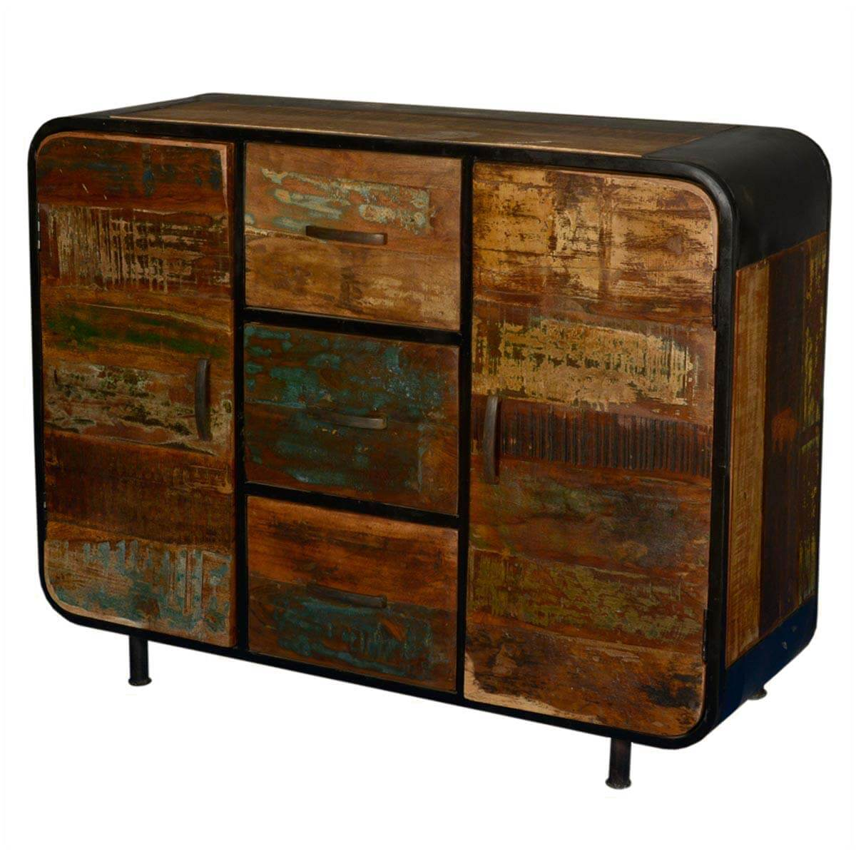 Rochester Retro Reclaimed Wood Industrial 3 Drawer Sideboard
