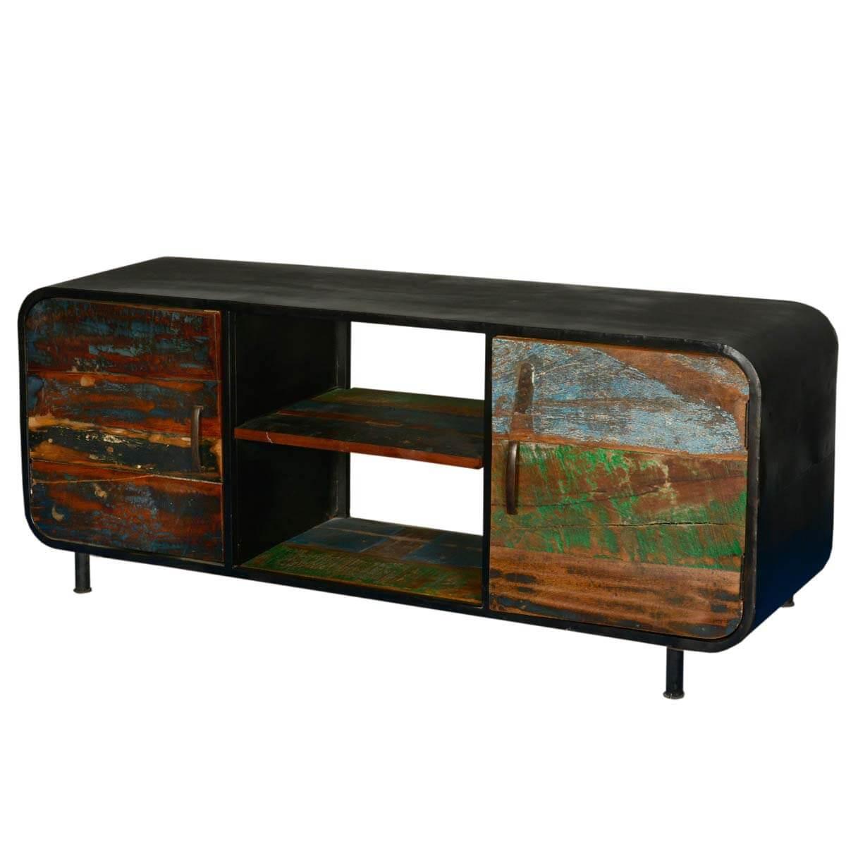 Retro Reclaimed Wood & Iron Media Console Cabinet