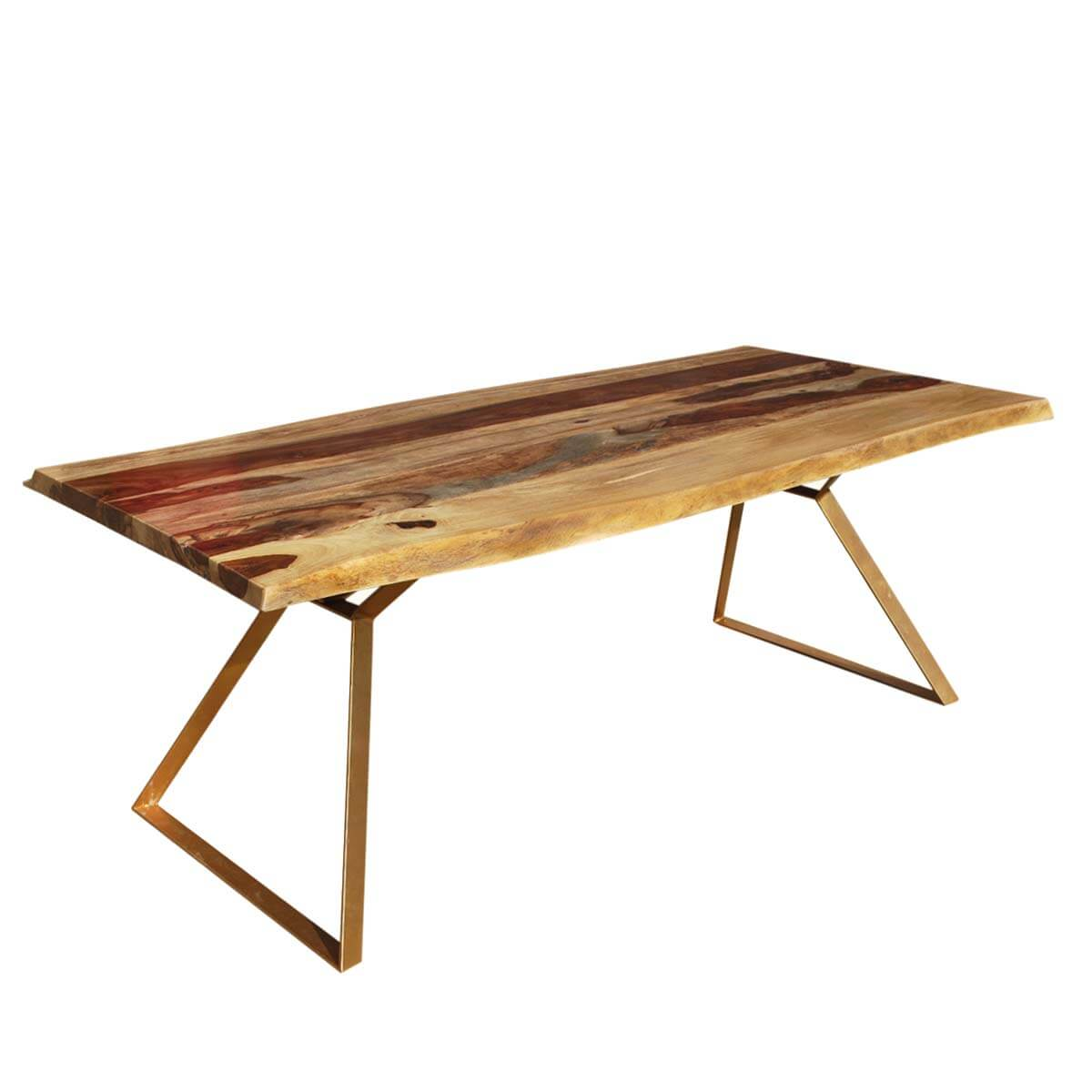 Live Edge Contemporary Solid Wood & Iron 78 Hankin Dining Table