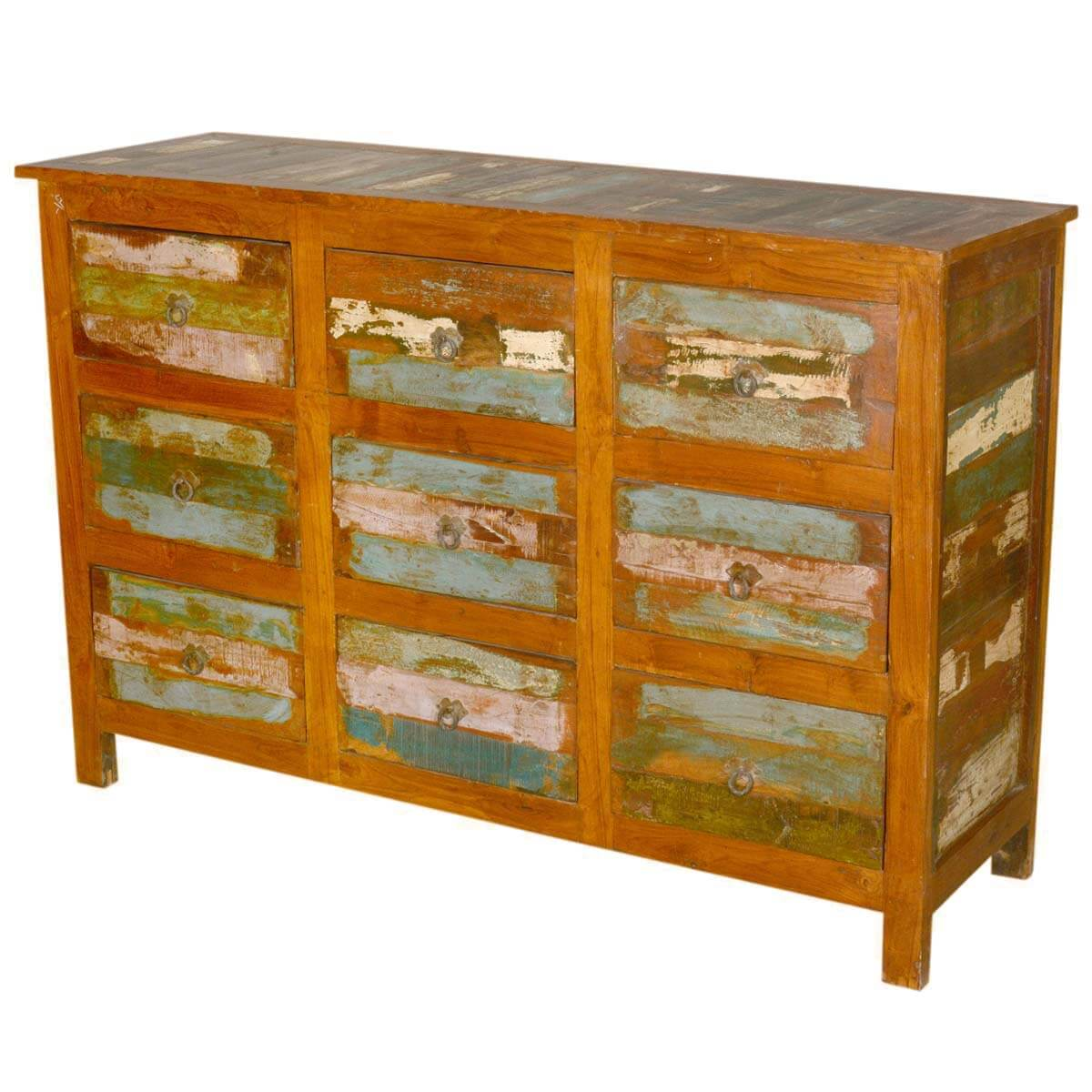 Arbela Rustic Reclaimed Wood Bedroom Dresser Chest With 9 Drawers