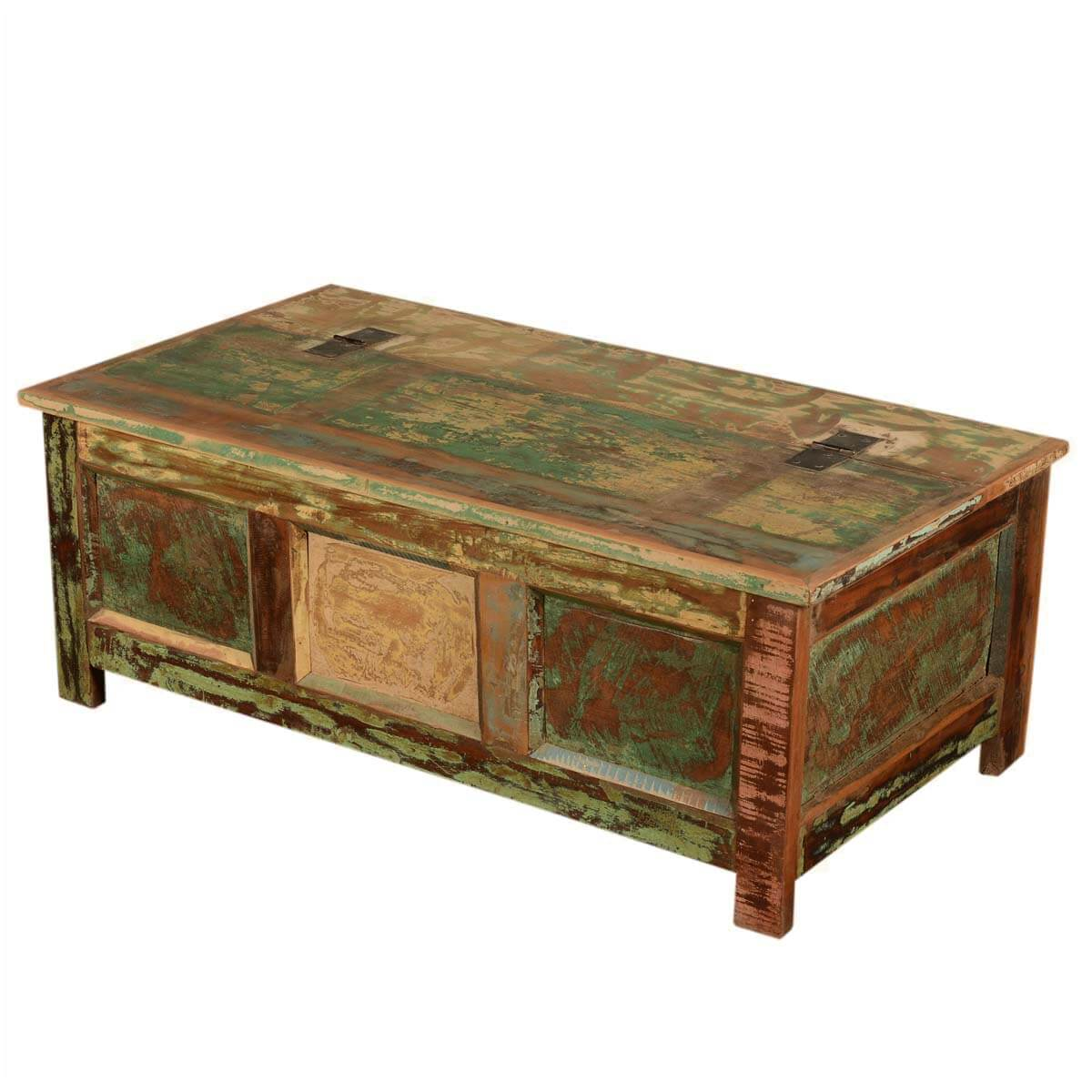 - Rustic Top Hinged Reclaimed Wood Standing Coffee Table Chest