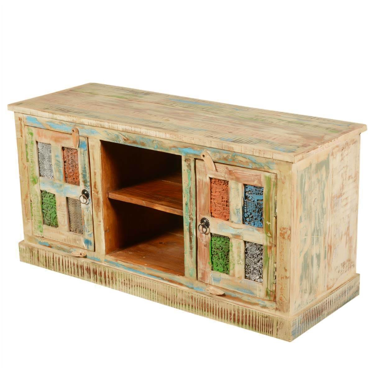 Rainbow Windows Rustic Reclaimed Wood TV Stand Media Console