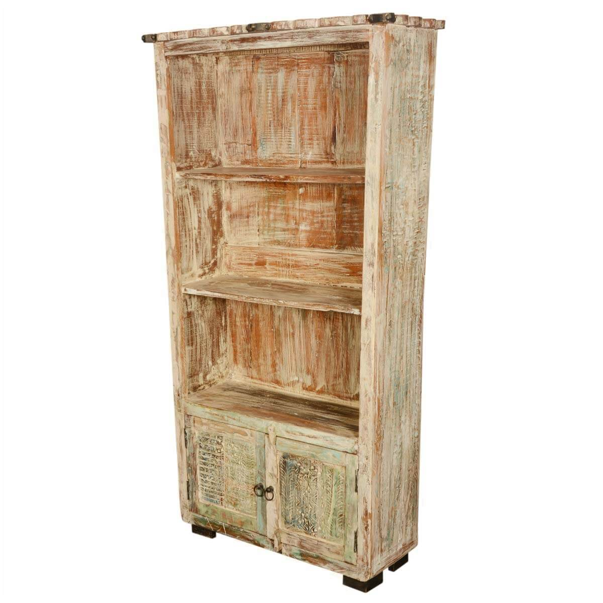 Sefton Rustic Reclaimed Wood 3 Open Shelf Bookcase With Doors