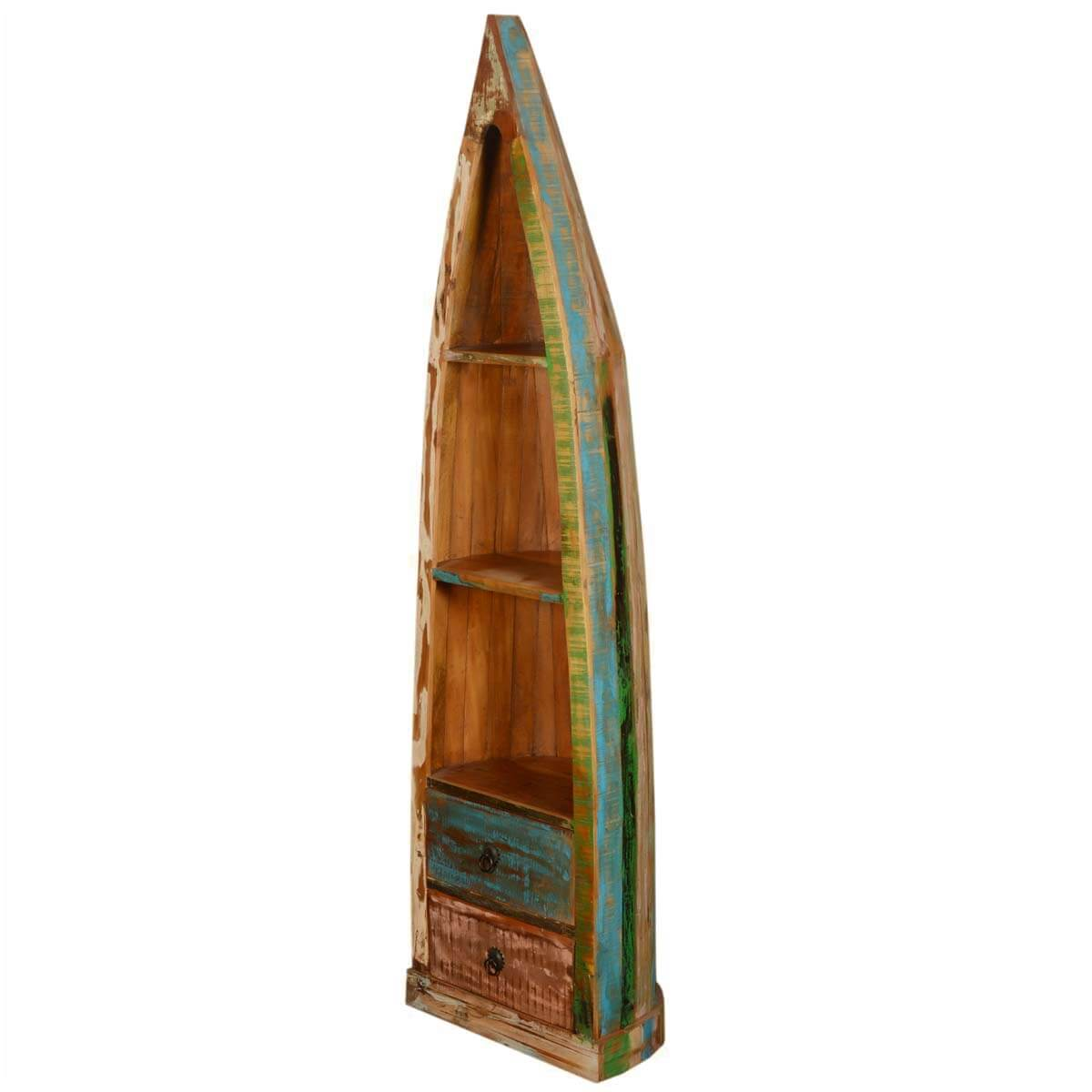 Mateer 3 Open Shelf Rustic Reclaimed Wood Canoe Bookcase With Drawers