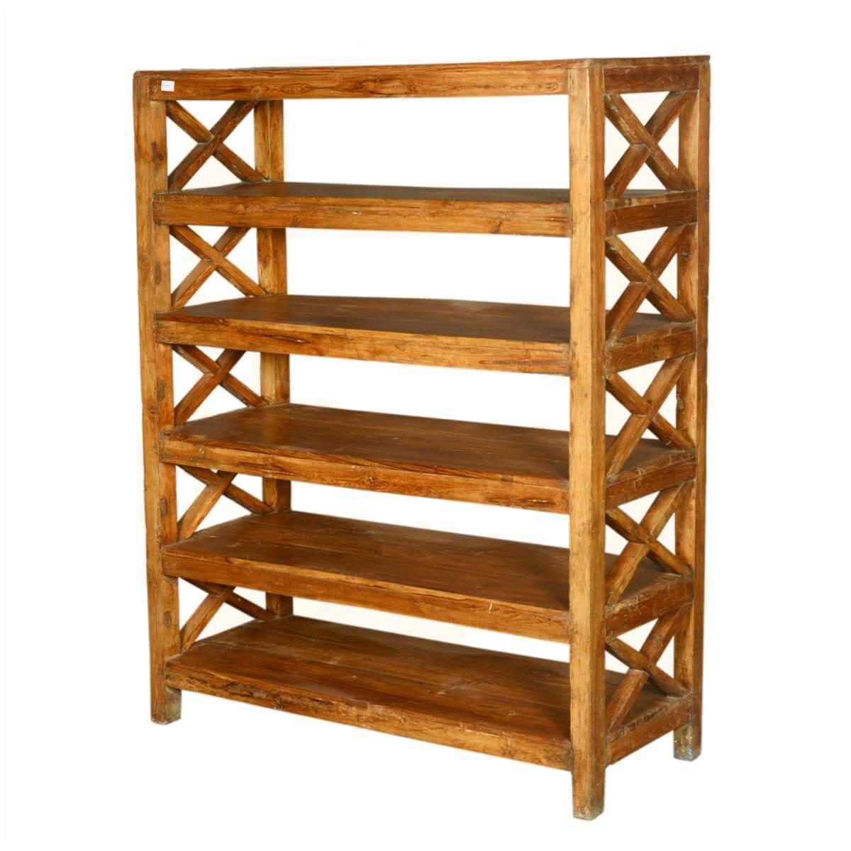 Dallas Ranch Rustic Reclaimed Wood 5 Open Shelf Bookcase