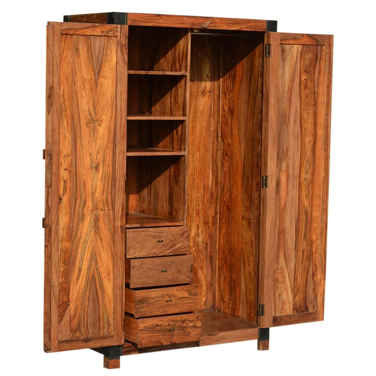 Princeton Solid Wood Bedroom Armoire Wardrobe With Shelves ...