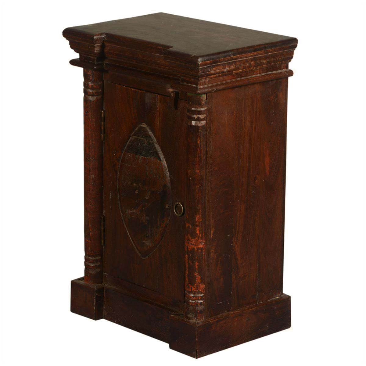Gothic Lemon Handcrafted Reclaimed Wood Single Door Nightstand Cabinet