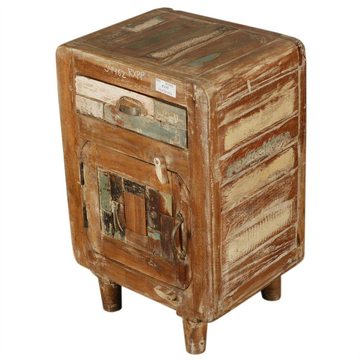 Appalachian Rustic Reclaimed Wood Retro 1 Drawer Nightstand
