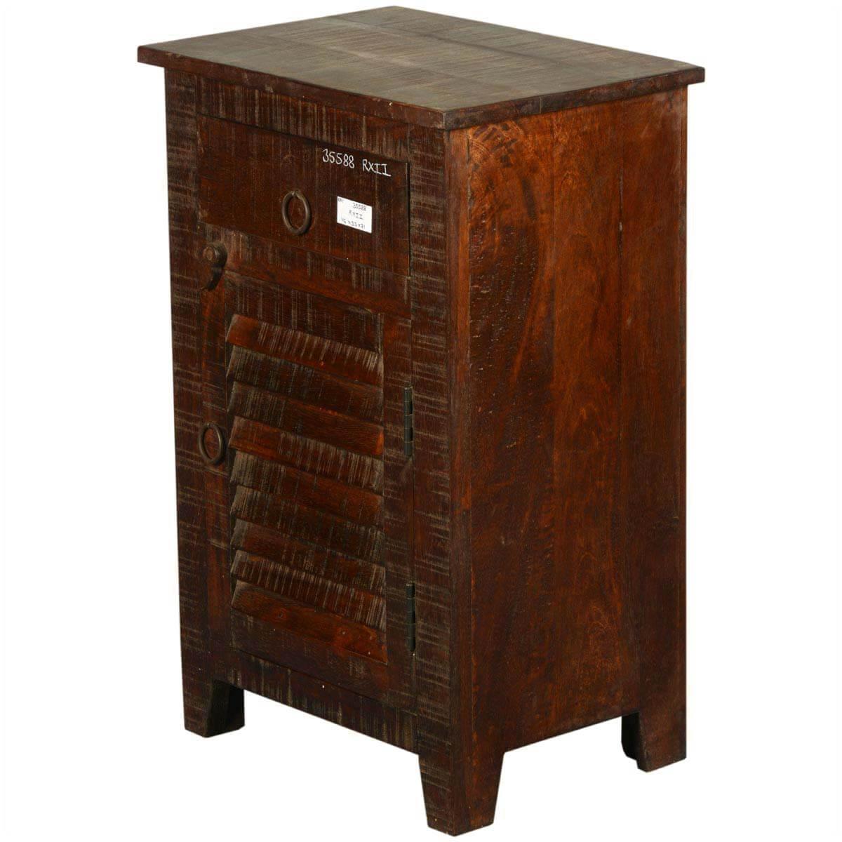 Rustic Treasure Shutter Door Reclaimed Wood Nightstand Cabinet