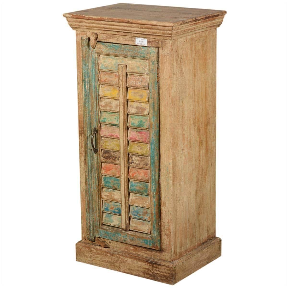 Paint Box Shutter Door Reclaimed Wood Rustic Nightstand Cabinet